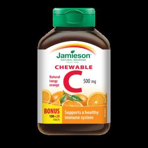 Jamieson Vitamin C 500 mg, žvečljive tablete z naravnim okusom pomaranče