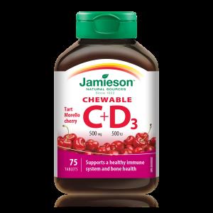 Jamieson Vitamin C+D žvečljive tablete z naravnim okusom češnje in sladili