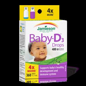 Jamieson BABY Vitamin D3 10 μg (400 i.e.), kapljice